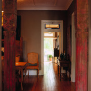 View of this hall - View of this ceiling, door, floor, home, house, interior design, living room, room, wall, window, wood, red, brown