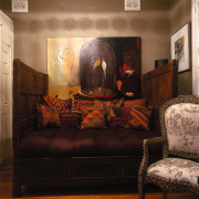 View of this living area - View of couch, furniture, home, interior design, living room, loveseat, room, wall, black, brown