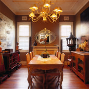 View of this dining area - View of ceiling, dining room, furniture, home, interior design, living room, room, table, wall, window, brown, red
