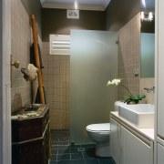 View of this bathroom - View of this bathroom, bathroom accessory, ceiling, home, interior design, room, gray, black