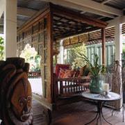 View of the veranda - View of the home, interior design, outdoor structure, patio, porch, window, black
