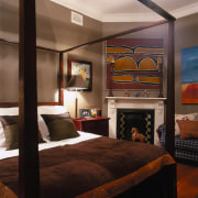 Veiw of this bedroom - Veiw of this bed frame, bedroom, ceiling, furniture, interior design, room, suite, wall, black, brown