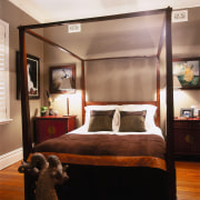 View of this bedroom - View of this bed, bed frame, bedroom, ceiling, furniture, home, interior design, room, brown, black