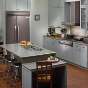 View of this contemporary kitchen - View of cabinetry, countertop, cuisine classique, home appliance, interior design, kitchen, kitchen appliance, refrigerator, room, gray