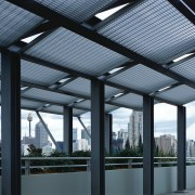 Rooftop pergolas for shade on rooftop, with view architecture, building, daylighting, roof, structure, teal