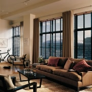 View of this living area - View of floor, home, interior design, living room, room, window, window blind, window covering, window treatment, wood, brown, black