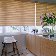 View of the kitchen area with window products curtain, home, interior design, kitchen, shade, window, window blind, window covering, window treatment, wood, gray, brown