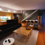 View of this kitchen & dining area - ceiling, interior design, living room, room, brown, black