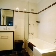 interior view of bathroom - interior view of bathroom, floor, home, interior design, room, tile, orange