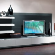 View of entertainment - View of entertainment - display device, electronics, flat panel display, furniture, home cinema, living room, multimedia, product design, gray, black
