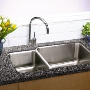 View of this kitchen sink & faucet - bathroom sink, countertop, kitchen, plumbing fixture, sink, tap, white