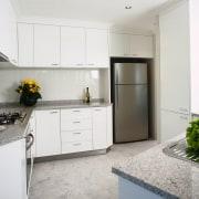 interior view of the kitchen - interior view countertop, cuisine classique, interior design, kitchen, property, real estate, room, white