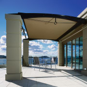 exterior view of outdoor living under sunscreen - architecture, real estate, shade, sky, structure
