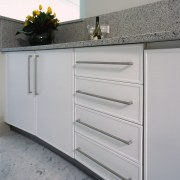 close up of kitchen cabinets supplied by tesrol bathroom accessory, bathroom cabinet, cabinetry, chest of drawers, countertop, drawer, furniture, kitchen, sink, gray