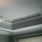 close up of joinery and lighting - close angle, ceiling, daylighting, daytime, light, light fixture, lighting, molding, plaster, product design, window, gray, black