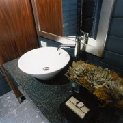 Bathroom with marble vanity, white basin bowl, large bathroom, bathroom sink, countertop, flooring, plumbing fixture, room, sink, black