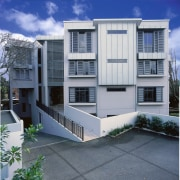 Exterior view of apartment building with concrete cladding architecture, building, commercial building, condominium, elevation, facade, home, house, neighbourhood, property, real estate, residential area, window, gray, blue