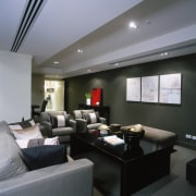 Lounge area with grey coloured sofa, black coffee ceiling, interior design, living room, real estate, room, gray, black