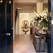 View of this classic entrance way - View ceiling, floor, flooring, home, interior design, lobby, room, black