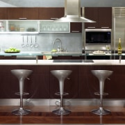 Interior view of kitchen serving bench - Interior cabinetry, countertop, cuisine classique, flooring, furniture, interior design, kitchen, product design, small appliance, table, red, white