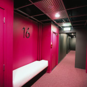 Apartment corridor with bright pink walls, dark grey architecture, ceiling, interior design, room, red, black