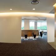 Office break-out area with cream walls, dark carpet, ceiling, daylighting, floor, flooring, interior design, office, real estate, gray