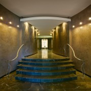 entry to apartments - entry to apartments - architecture, ceiling, daylighting, floor, interior design, light, lighting, lobby, reflection, wood, brown
