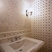 View of this hand basin - View of bathroom, bathroom sink, ceiling, ceramic, floor, flooring, interior design, plumbing fixture, room, sink, tap, tile, wall, gray, brown