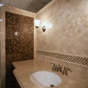 View of this hand basin area - View bathroom, ceiling, floor, flooring, interior design, plumbing fixture, property, room, tile, wall, brown