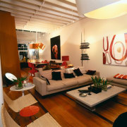 View of this lounge - View of this ceiling, interior design, living room, room, table, orange, brown