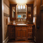 A natural walnut dresser in the second bathroom bathroom, cabinetry, countertop, cuisine classique, furniture, hardwood, home, interior design, kitchen, room, wood, wood stain, brown, black