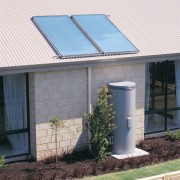 exterior view of water heating system - exterior daylighting, facade, home, house, real estate, roof, siding, window, white
