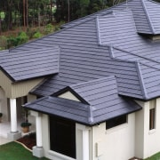 exterior of closer view of roof - exterior daylighting, facade, house, outdoor structure, real estate, roof, siding, blue