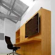 View of desk - View of desk - angle, architecture, desk, furniture, house, interior design, product design, gray, white, brown