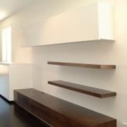 View of shelves - View of shelves - architecture, daylighting, floor, flooring, furniture, hardwood, interior design, product design, shelf, stairs, table, wall, wood, wood flooring, orange
