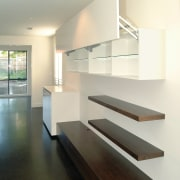 View of shelves - View of shelves - architecture, daylighting, floor, handrail, house, interior design, product design, stairs, white