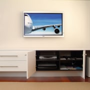 Interior view of lounge - Interior view of display device, flat panel display, furniture, interior design, multimedia, product design, room, shelving, television, white