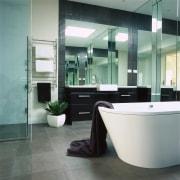Interior view of the bathroom - Interior view bathroom, floor, flooring, glass, interior design, plumbing fixture, product design, tile, gray