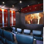 Leather coaches, dark blue textured wallpaper and carpet, auditorium, ceiling, interior design, theatre, black