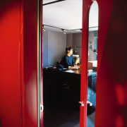 Large red doors with glass panel leading to house, interior design, red, room, red