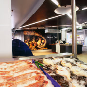 Closeup of refrigerated display cabinets. - Closeup of bakery, food, white