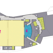 Floor plan of convention centre including foyer, exhibition angle, architecture, area, design, elevation, floor plan, house, line, plan, product design, white