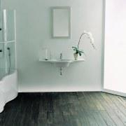 Bathroom with white wall mounted vanity top, mirror angle, bathroom, bathroom accessory, bathroom cabinet, bathroom sink, bidet, floor, flooring, plumbing fixture, product, product design, room, sink, tap, tile, wall, gray, white