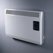 White slimline wall panel heater on grey wall. intercom, product, product design, technology, gray