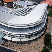 Steel roof on central building, with sun louvres architecture, building, daylighting, roof, sport venue, structure, white, black