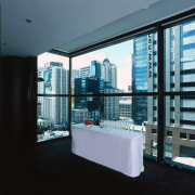 Function room with extensive glazing and white covered architecture, condominium, glass, interior design, property, real estate, window, black, teal