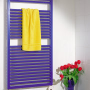 View of this towel rail - View of curtain, interior design, purple, shelf, shelving, window blind, window covering, yellow, white