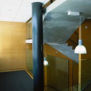 Stairway area, with column painted in dark colour, architecture, ceiling, daylighting, glass, interior design, stairs, brown