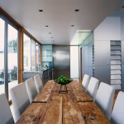 view of kitchen dining area - view of architecture, ceiling, daylighting, floor, house, interior design, living room, gray