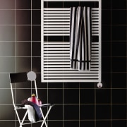 View of this bathroom accessory - View of black, floor, flooring, furniture, interior design, line, product, shelf, shelving, tile, wall, window, black